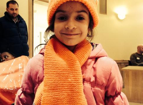 Knitting hats and scarves for Asylum-seekers' children