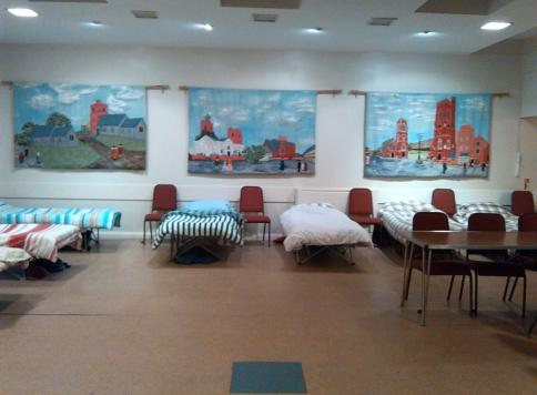 Camp beds and tables